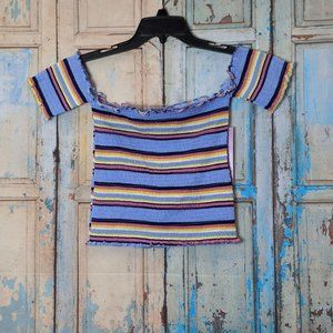 Crave Fame Womens Medium Blue Striped Short Sleeve